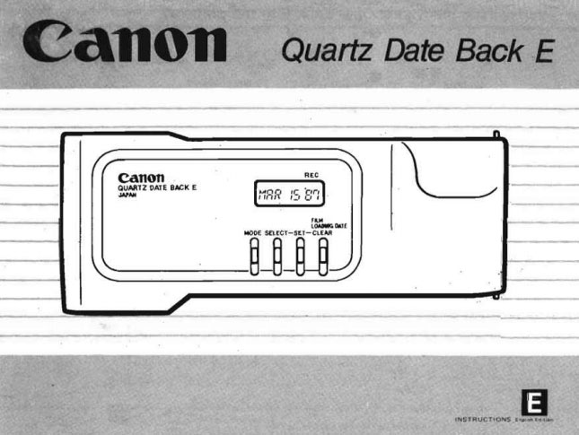 Canon Data Back FN and A Instructions