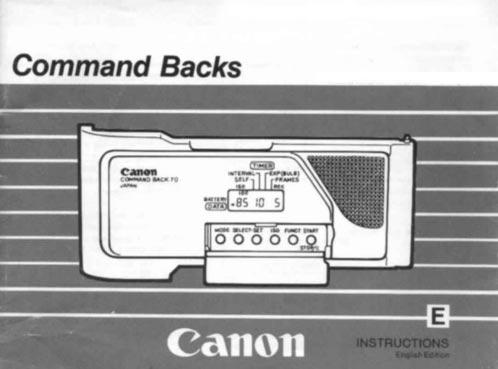 Canon Command Back E-1 Instructions