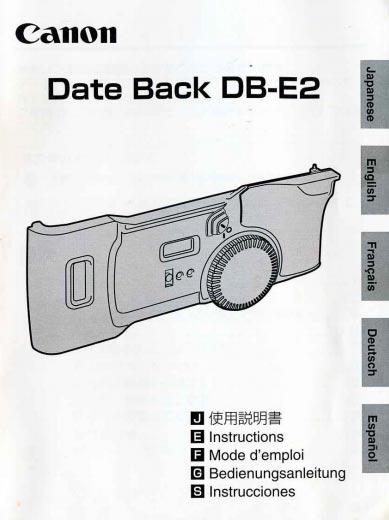Canon Date Back PB-E2 Instructions