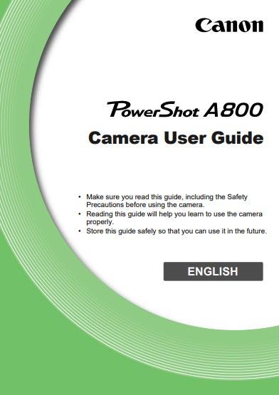 Canon PowerShot A800 Instructions