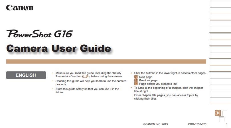 Canon PowerShot G16 Manual