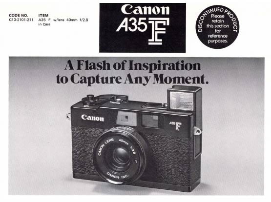 Dealer Notes for Canon AF35F