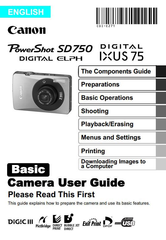 Powershot SD750 Basic Manual