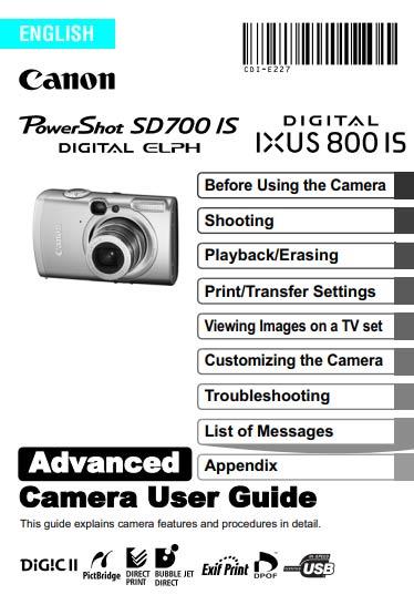 Canon SD700 IS Advanced Manual