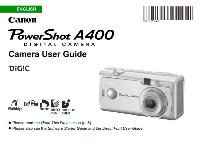 PowerShot A400 Manual