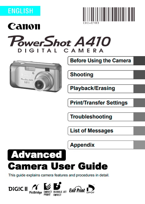 PowerShot A410 Advanced Manual