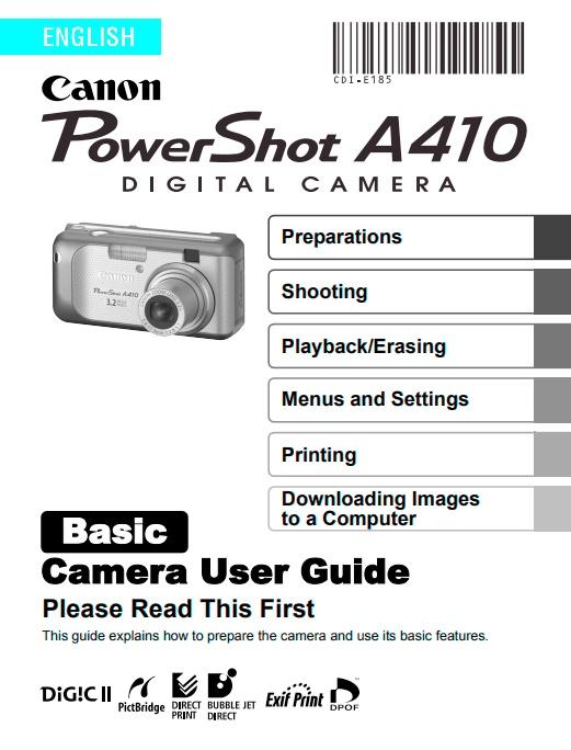 PowerShot A410 Basic Manual