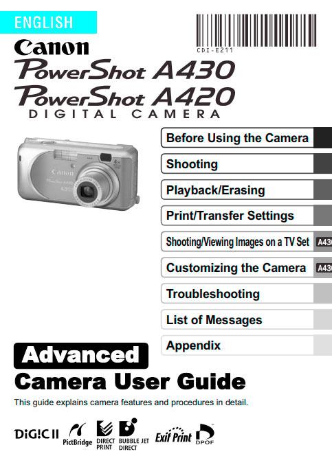 PowerShot A420-A430 Advanced Manual