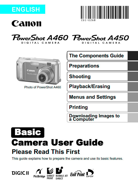 PowerShot A450-A460 Basic Manual