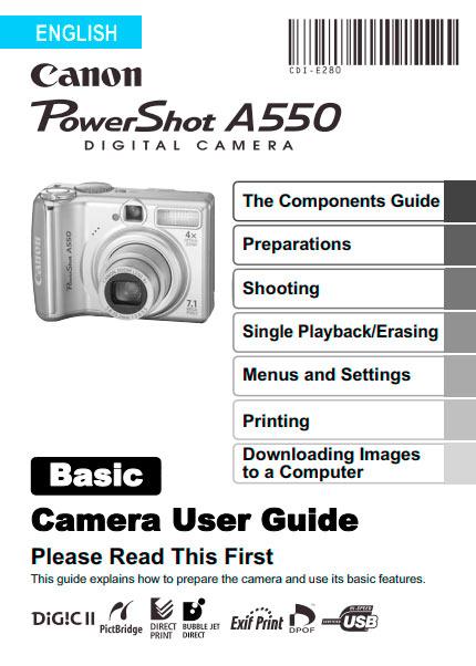 PowerShot A550 Basic Manual