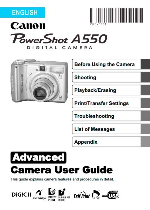 PowerShot A550 Manual
