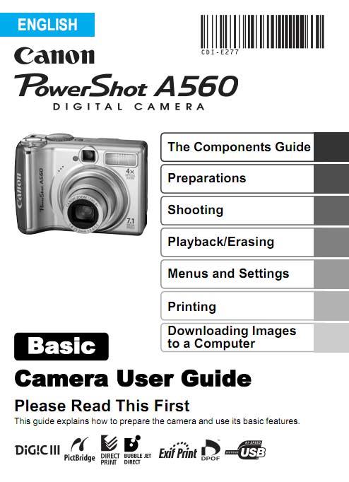 PowerShot A560 Manual