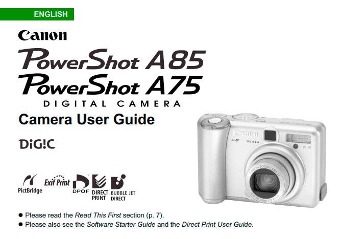 PowerShot A85 Manual